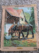 Two Horses Drinking Needlepoint Design 'RoyalParis_17563'