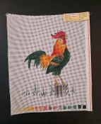 A Needlepoint design of a Crowing Rooster 'NeedlePoint_817'